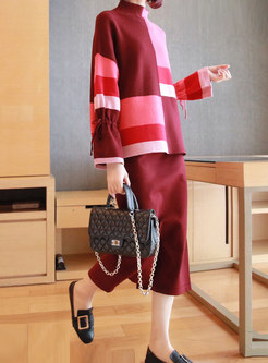 Turtleneck Color-blocked Knit Suit Dress