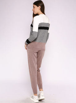 Color-blocked Striped Sweater Pant Suits