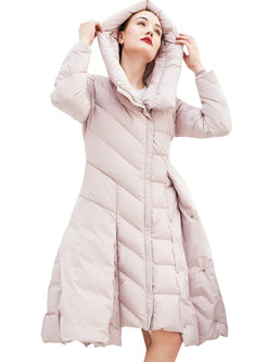 Solid Color Hooded Patchwork A Line Puffer Coat