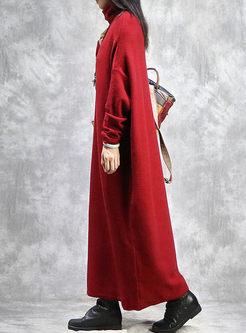 Turtleneck Bat Sleeve Long Sweater Dress