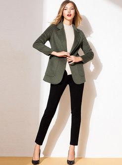 Notched Long Sleeve Slim Wool Coat