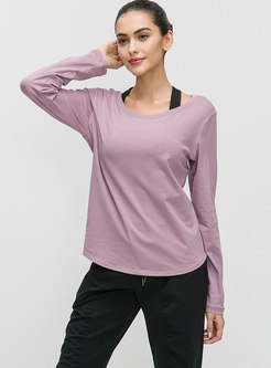 Crew Neck Backless Loose Quick-drying Top
