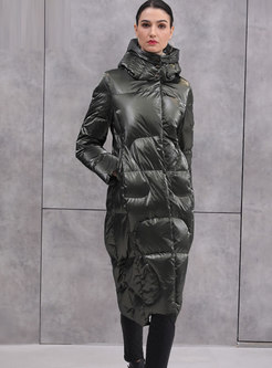 Hooded Glossy Long Puffer Coat