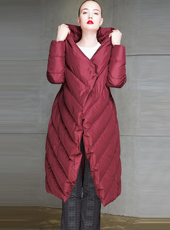 Solid Color Hooded Puffer Coat