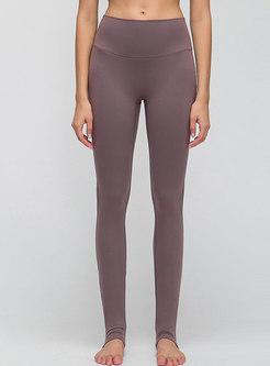 Solid Color High Waisted Slim Yoga Pants