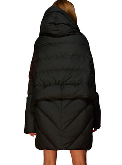 Hooded Irregular A Line Puffer Coat