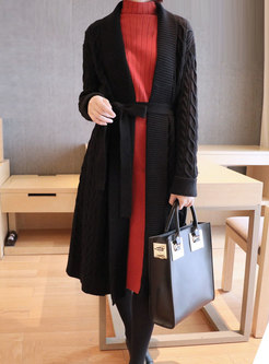 Solid Color Long Sweater Coat With Belt