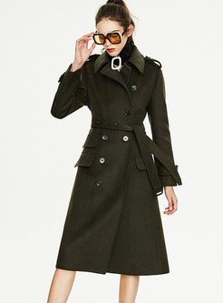 Solid Color Wool Blend Peacoat With Belt