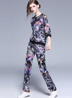 Crew Neck Print Loose Pant Suits