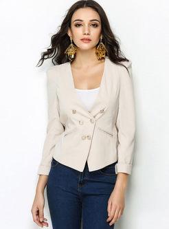White Deep V-neck Short Slim Blazer