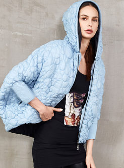 Hooded Bat Sleeve Loose Down Coat