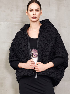 Hooded Bat Sleeve Loose Down Coat