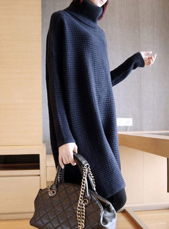 Turtleneck Long Sleeve Pullover Sweater Dress