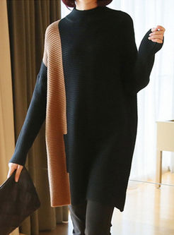Turtleneck Bat Sleeve Tunic Sweater