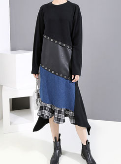 Color-blocked PU Patchwork T-shirt Dress