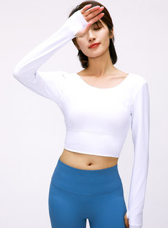 Crew Neck Backless Workout Cropped Top
