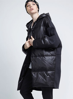 Hooded Bat Sleeve Loose Puffer Coat