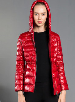 Solid Color Hooded Lightweight Puffer Jacket