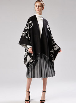 Thick Jacquard Color-blocked Cloak Scarf