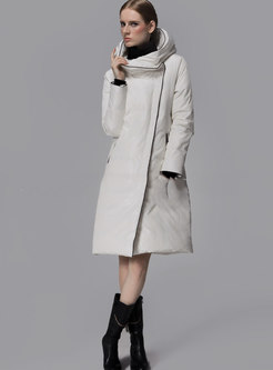 Solid Color Hooded Straight Down Coat
