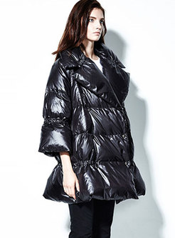 Solid Color Falbala Puffer Coat