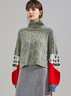Turtleneck Bat Sleeve Short WoolBlend Sweater