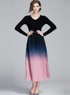 V-neck High Waisted Color-blocked Skater Dress