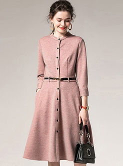 Crew Neck Long Sleeve A Line Dress