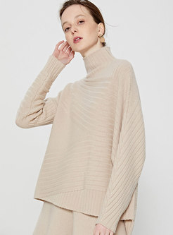 Solid Color Turtleneck Bat Sleeve Loose Sweater