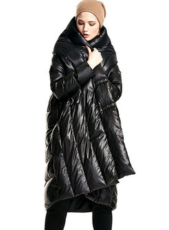 Solid Color V-neck Asymmetry Puffer Coat