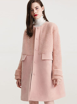 Pink Crew Neck Shift Patchwork Coat