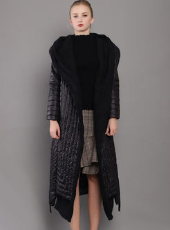 Black Hooded Asymmetric Long Puffer Coat