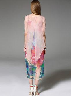 Loose Big Hem Floral Print Silk Slip Dress