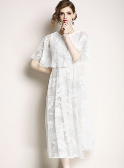 Embroidered Half Sleeve Lace Maxi Dress