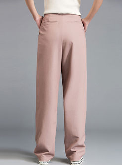 Brief Solid Color Straight Long Pants