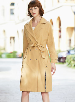 Notched Plaid Patchwork Trench Coat