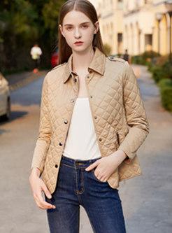 Solid Color Lapel Diamond Short Jacket