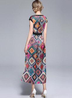 Off The Shoulder Geometric Print Maxi Dress