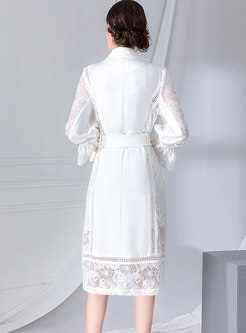 Notched Lace Patchwork Waist Tie Skater Dress