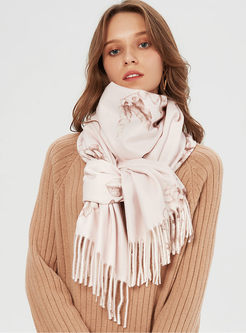 Print Fringed Thicken Poncho Scarf