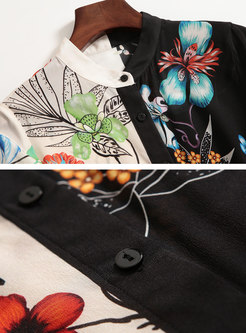 Mock Neck Print Patchwork Silk Blouse
