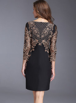 Crew Neck Embroidered Lace Patchwork Bodycon Dress
