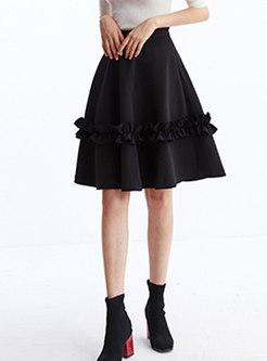 High Waisted Falbala A Line Skirt