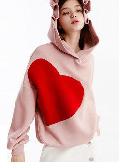 Pullover Loose Heart Print Hoodie