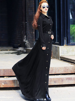 Long Sleeve Single-breasted Maxi Dress