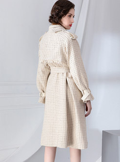 Plaid Fringed A Line Trench Coat