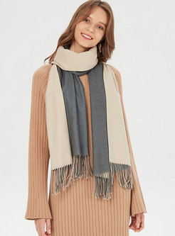 Faux Cashmere Fringed Thicken Scarf