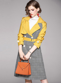 Color-blocked Patchwork Plaid Double Breasted Trench Coat
