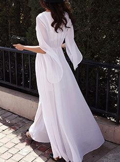 V-neck Flare Sleeve Chiffon Maxi Dress