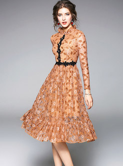 Mock Neck Lace Openwork Falbala Skater Dress
